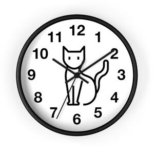 Kitty Cat Wall Clock Black and White