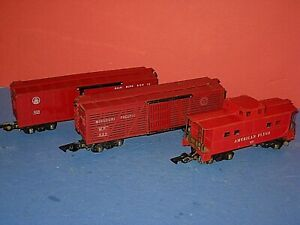 3- AF cars: 633 B&O box, 629 MP stock car, 638 red AF caboose. RTR  VG overall