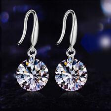 Elegant Women Silver Plated Crystal Rhinestone Drop Hook Dangle Earring Ear Stud