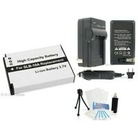 SLB-10A Battery + Charger + BONUS for Samsung HMX-U100 WB150F WB250F WB500