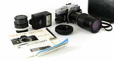 Minolta Camera w/ 58m Lens & Skylight 75-100mm Lens in Box + Vivitar 1900 Flash