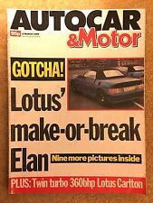 AUTOCAR MAGAZINE 08-MAR-89 - Lotus Elan, Mercedes 190 2.0 W201, Lotus Carlton