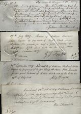 1828-29; GIV REVENUE STAMPS- GREAT BRITAIN 4/- to 3d on old receipts