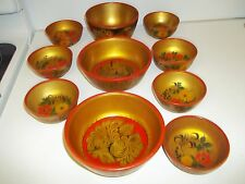 Vintage Russian Khokhloma Lacquer Bowl Collection-10 pieces