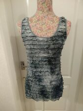 LADIES DUSKY BLUE & GREY SLEEVELESS STRETCHY TOP RUFFLE FRILL FRONT 10 BY GEORGE