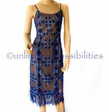 Dotti Geometric Lace Dress Multi Coloured Blue Nude Tags Size 10