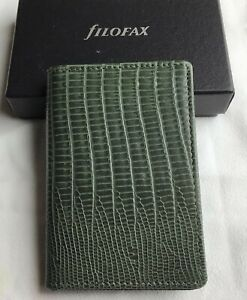 FILOFAX GREEN TOPAZ LEATHER CARD HOLDER - MINT, BOX