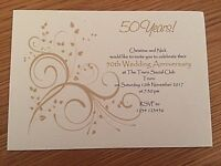 10 Personalised Golden 50th Wedding Anniversary Invitations *Envelopes Supplied*