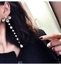 New Women Half Crystal Snowflake Petal Dangle Earrings Long Pearl String Eardrop