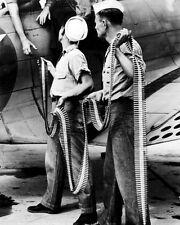New 8x10 World War II Photo: Ordnancemen Loading Belted Cartridges into SBD-3