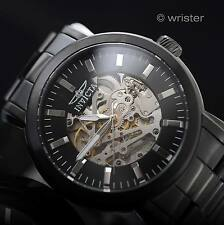 Invicta Vintage Automatic Mechanical Skeleton Dial Black Silver 45mm Men's Watch
