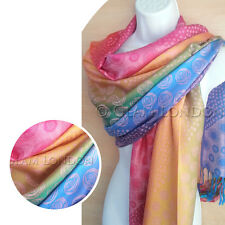 Multi Colour Pashmina Scarf Rainbow Circle Dots Rose Viscose Womens Wrap/Shawl