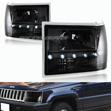 FOR JEEP GRAND CHEROKEE SMOKE LENS LED 1-PIECE HEADLIGHTS+BUMPER+CORNER LAMPS