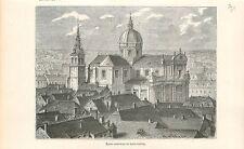 Sint-Aubankathedraal Cathédrale Saint-Aubain Namur Wallonie GRAVURE PRINT 1880