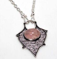 "Rose Quartz 925 Sterling Silver Plated Necklace 18"" Unique Jewelry GW"