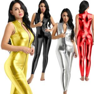 Women Wet Look Leather Bodysuit Zipper Crotch Jumpsuit Catsuit Clubwear Catsuit