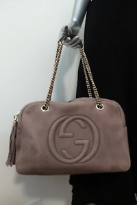 Gucci Soho Chain Large Shoulder Bag with Tassel Taupe Leather