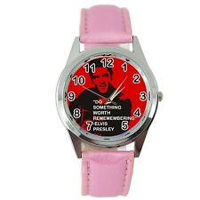 ELVIS PRESLEY WATCH Stainless LEATHER MUSIC KING LEGEND ROUND PINK BAND WATCH E7