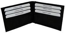 New Super A Mens Bifold Genuine Leather Wallet Pockets Card ID Black Slim Thin