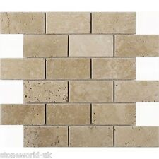 "Tumbled Classic Light Travertine Brick Mosaic Tiles 48 x 100 mm (2"" x 4"")"