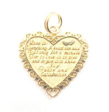 14k Solid Gold Heart Charm Pendant Love Inscription Cute Gift Free Shipping