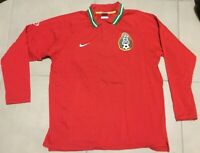 Men's NIKE Total 90 Mexico Soccer Sz XL Polo Shirt Red Longsleeve futbol vtg