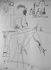 SAUL STEINBERG - BAR FLY - LITHOGRAPH  - 1953 - FREE SHIP IN US  !!!