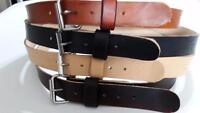 """HEAVY DUTY REAL LEATHER 1.1/2"""" W WORK BELT MENS WOMENS WITH S.S ROLLER BUCKLE"""