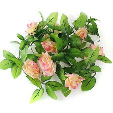 2.4m Künstlich Girlande Rosa Seiden Blume Blatt-rebe Efeu Zuhause Hochzeit