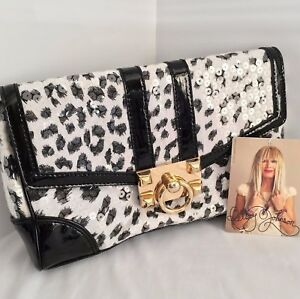 Betsey Johnson 'Lady Jungle' Clutch Black/White Sequins  NWT!