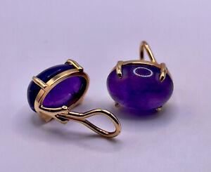 Estate 8.38 & 9Carat Deep Purple Cabochon Amethyst Clip on 14k Gold Earrings NR!