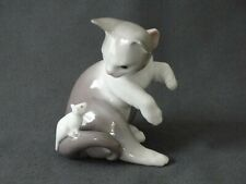 Lladro Grey White Kitten Cat and Mouse on Tail 5236 Retired Figurine Mint