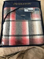 141.  Pendleton Home Collection Black Red Plaid Blanket Cotton NWT Full/Queen
