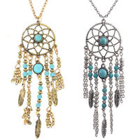 Womens Retro Turquoise Feather Dream Catcher Pendant Long Sweater Chain Necklace