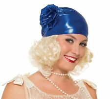 Roaring 20s Metallic Blue Cloche Flapper Hat Women Costume Accessory Gatsby New