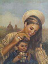 Dipinto Olio su Tela - 30x40 cm - Arte Sacra - Quadro Madonna Bambino