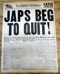 1945 WW II hdln newspaper 2nd ATOM BOMB dropped on NAGASAKI forces JAPAN to QUIT