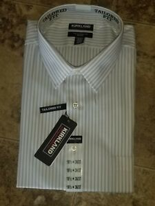 Mens Kirkland Dress Shirt 18.5 L/S 36/37 Non Iron Tailored Fit Grey White Stripe