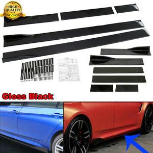 78.7'' 2M Gloss black Side Skirts Extension Body Panel Lip Winglet Kit For Audi