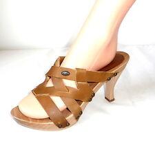 SCHOLL 38 Pumps Holz Leder Sandalette Peep-Toe High Heels Schuhe shoes Riemchen