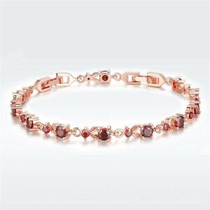 Fashion Exquisite Red Round Zircon Rose Gold Bracelet Valentine'S Day Jewelry