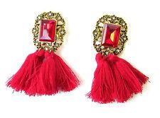 Red & Gold Art Deco 1920s Vintage Style Earrings Stud Drop Tassel Flapper 1057