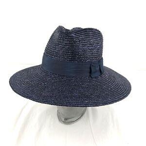 Brixton Joanna Straw Sun Hat Wide Brim Size XS 6,3/4 Dark Purple Blue Hat Band