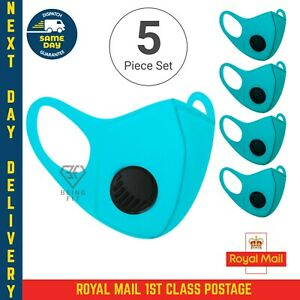 5 X Breathable Air Flow Blue Mask Washable Face Mouth Protection With Filter UK