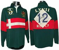 VTG Polo Ralph Lauren Men's Rugby Shirt East Hampton County Jockey Club NYC - M