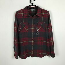 Natural Reflections Blouse Size M Flannel Plaid Red Gray Button Front Womens