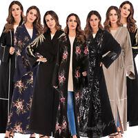 Muslim Women Long Maxi Dress Open Cardigan Kaftan Kimono Cocktail Abaya Robe New