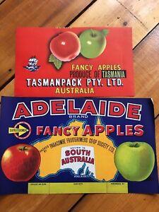 apple labels  pair  ADELAIDE .TASMANIA