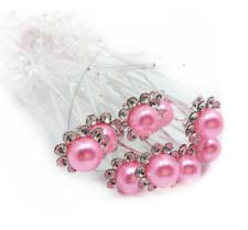 Lot de 3 épingles à chignons perle rose et strass , bijou de cheveux mariage