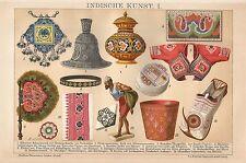 B0206 Arte Indiana - Cromolitografia d'epoca - 1902 Vintage print